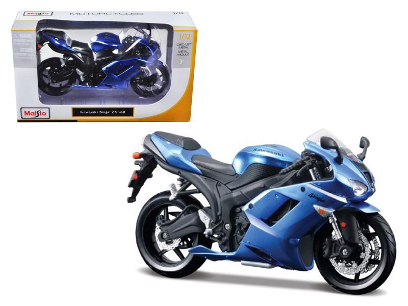 Kawasaki Ninja ZX-6R Blue Bike Motorcycle Model 1/12 by Maisto