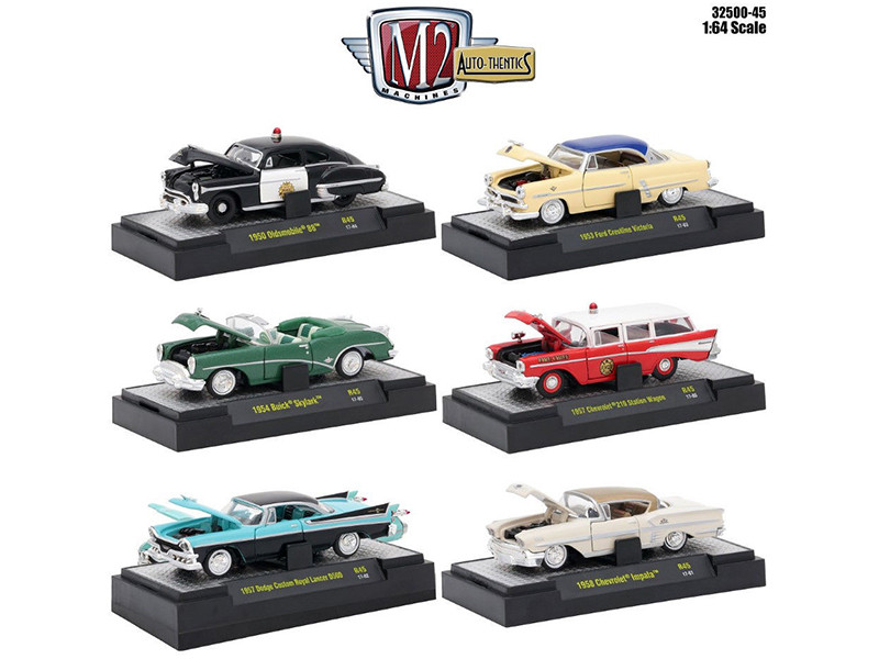 Auto Thentics 6 Piece Set Release 45 IN DISPLAY CASES 1/64 Diecast Model Cars M2 Machines 32500-45