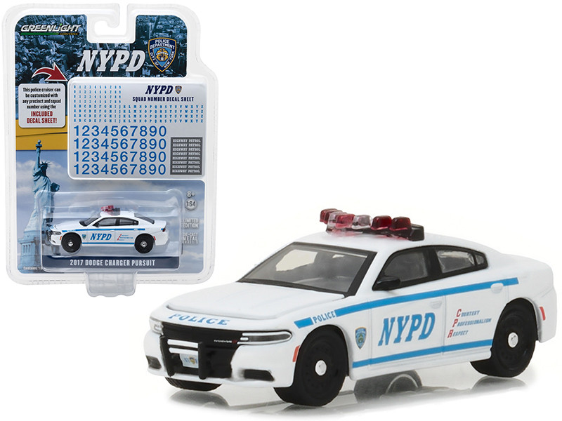 2017 Dodge Charger Pursuit Police New York Police Department with NYPD Squad Number Decal Sheet Hobby Exclusive 1/64 Diecast Model Car Greenlight 42821