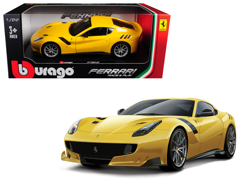 Ferrari F12 TDF Yellow 1/24 Diecast Model Car Bburago 26021