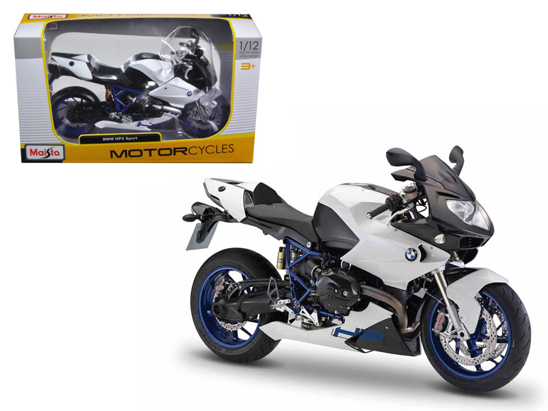BMW HP2 Sport White/Black Motorcycle 1/12 Diecast Model by Maisto