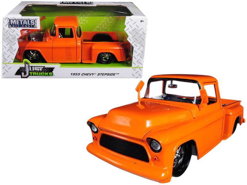 1955 Chevrolet Stepside Pickup Truck Orange 1/24 Diecast Car Model Jada 99040