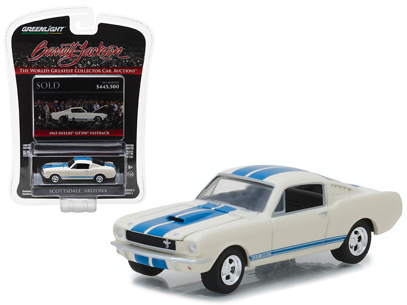 1965 Ford Shelby Mustang GT 350 Fastback White Barrett Jackson Scottsdale Edition Series 2 1/64 Diecast Model Car Greenlight 37130 A
