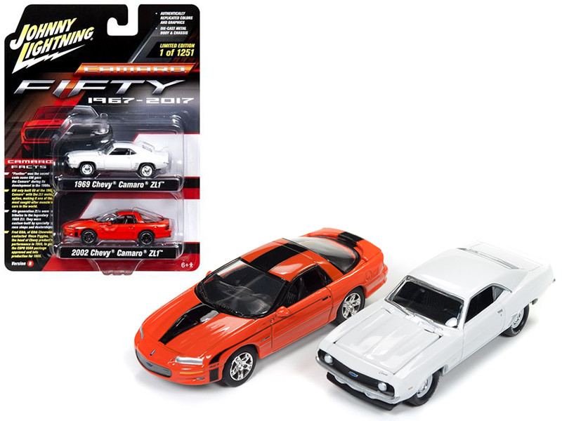 1969 Chevy Camaro ZL1 Dover White and 2002 Chevy Camaro ZL1 Huggar Orange Black Stripes 50th Anniversary Edition 1/64 Diecast Model Cars Johnny Lightning JLPK001 B