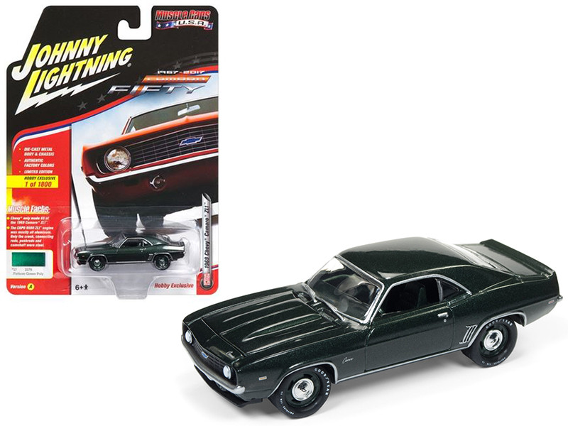 1969 Chevrolet Camaro ZL1 Fathom Green Poly 50th Anniversary Limited Edition to 1800pc Worldwide Hobby Exclusive Muscle Cars USA 1/64 Diecast Model Car Johnny Lightning JLSP003 A