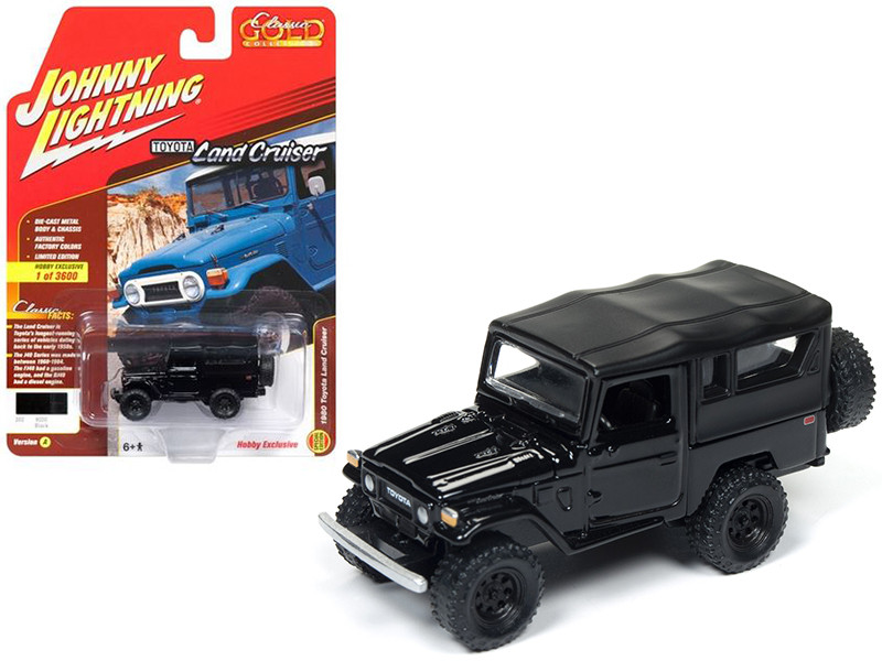 1980 Toyota Land Cruiser Gloss Black & Flat Black Soft Top Limited Edition to 3600pc Worldwide Hobby Exclusive Classic Gold 1/64 Diecast Model Car Johnny Lightning JLSP004 A