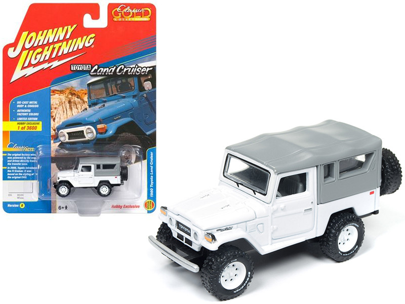 1980 Toyota Land Cruiser Gloss White & Flat Gray Soft Top Limited Edition to 3600pc Worldwide Hobby Exclusive Classic Gold 1/64 Diecast Model Car Johnny Lightning JLSP004 B