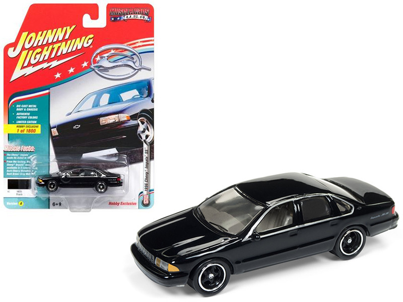 1996 Chevrolet Impala SS Gloss Black Limited Edition to 1800pc Worldwide Hobby Exclusive Muscle Cars USA 1/64 Diecast Model Car Johnny Lightning JLSP006 A