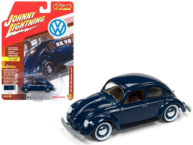 1950 Volkswagen Split Window Beetle Dark Blue Limited Edition to 1800pc Worldwide Hobby Exclusive Classic Gold 1/64 Diecast Model Car Johnny Lightning JLSP007 A