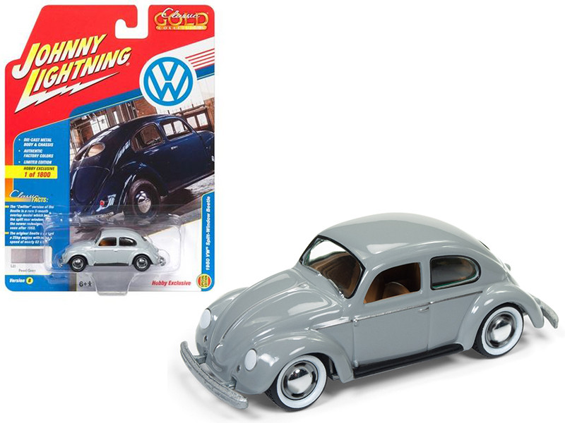 1950 Volkswagen Split Window Beetle Pearl Gray Limited Edition to 1800pc Worldwide Hobby Exclusive Classic Gold 1/64 Diecast Model Car Johnny Lightning JLSP007 B