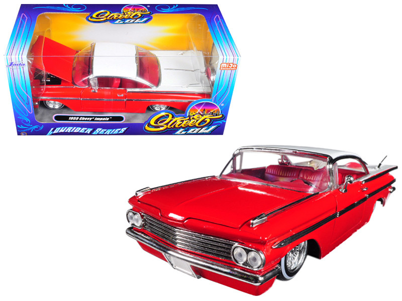 1959 Chevrolet Impala Red Lowrider Series Street Low 1/24 Diecast Model Car Jada 98922