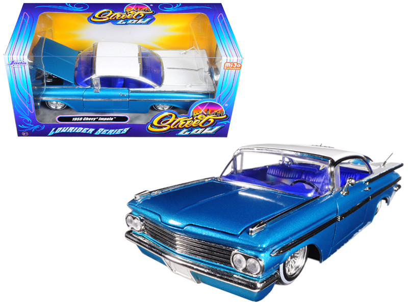 1959 Chevrolet Impala Blue Lowrider Series Street Low 1/24 Diecast Model Car Jada 98923