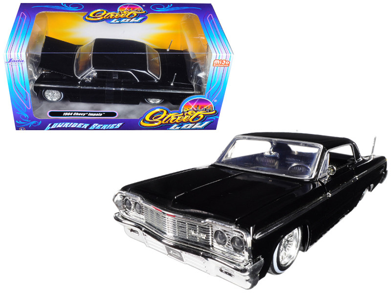 1964 Chevrolet Impala Black Lowrider Series Street Low 1/24 Diecast Model Car Jada 98931