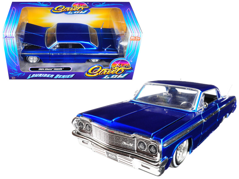 1964 Chevrolet Impala Blue Lowrider Series Street Low 1/24 Diecast Model Car Jada 98932