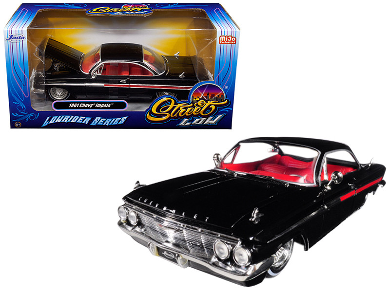 1961 Chevrolet Impala Black Lowrider Series Street Low 1/24 Diecast Model Car Jada 98928