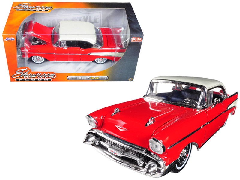 1957 Chevrolet Bel Air Red Showroom Floor 1/24 Diecast Model Car Jada 98893