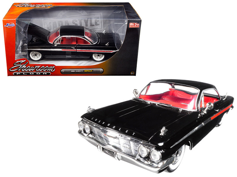 1961 Chevrolet Impala Black Showroom Floor 1/24 Diecast Model Car Jada 98904