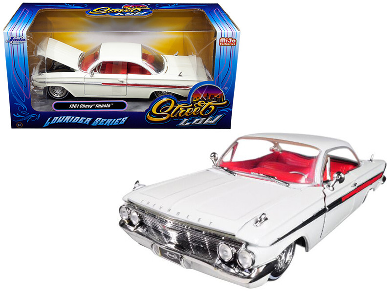1961 Chevrolet Impala White Lowrider Series Street Low 1/24 Diecast Model Car Jada 98929