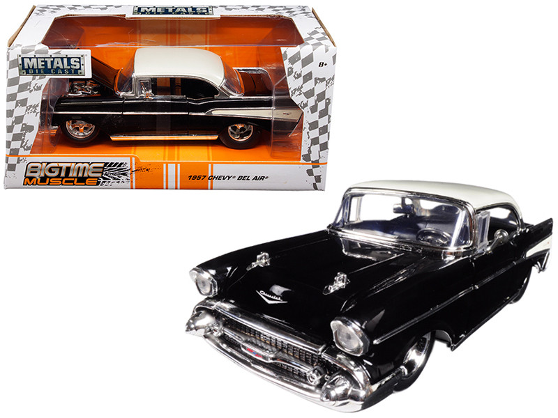 1957 Chevrolet Bel Air Black White Big Time Muscle 1/24 Diecast Model Car Jada 98943
