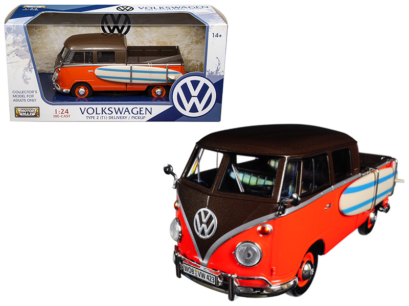 Volkswagen Type 2 T1 Pickup with Surfboard Brown Orange 1/24 Diecast Model Car Motormax 79560