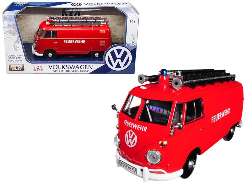 Volkswagen Type 2 T1 Fire Van Red 1/24 Diecast Model Car Motormax 79564
