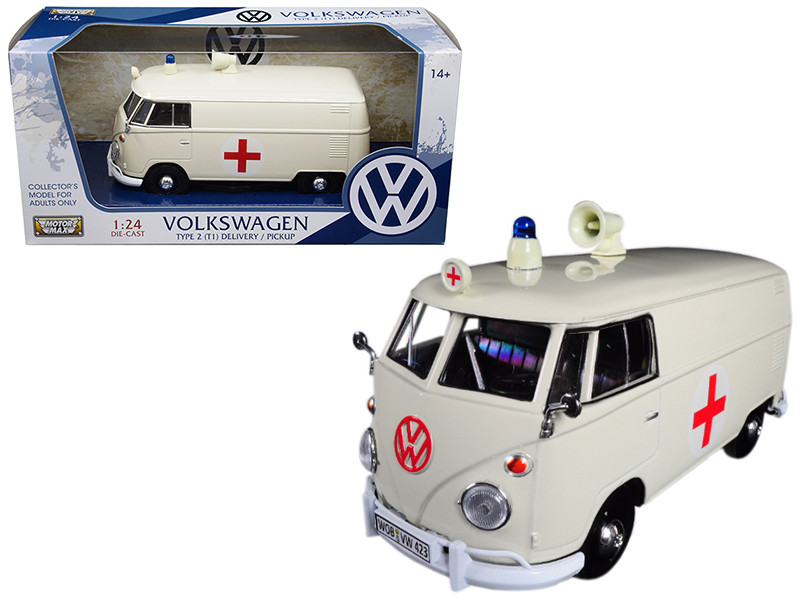 Volkswagen Type 2 T1 Ambulance Cream 1/24 Diecast Model Car Motormax 79565