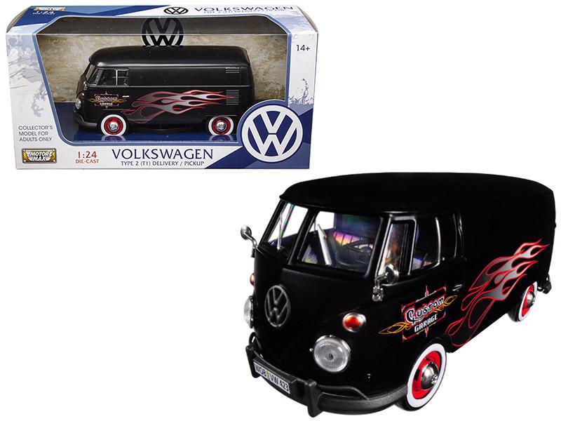 Volkswagen Type 2 T1 Delivery Van Matte Black with Flame Design 1/24 Diecast Model Car Motormax 79567