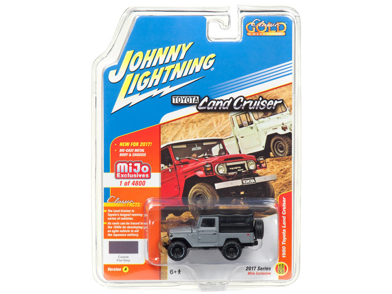 1980 Toyota Land Cruiser Grey Hard Top Limited Edition to 4800pc Worldwide Special Edition Classic Gold 1/64 Diecast Model Car Johnny Lightning JLCP7030