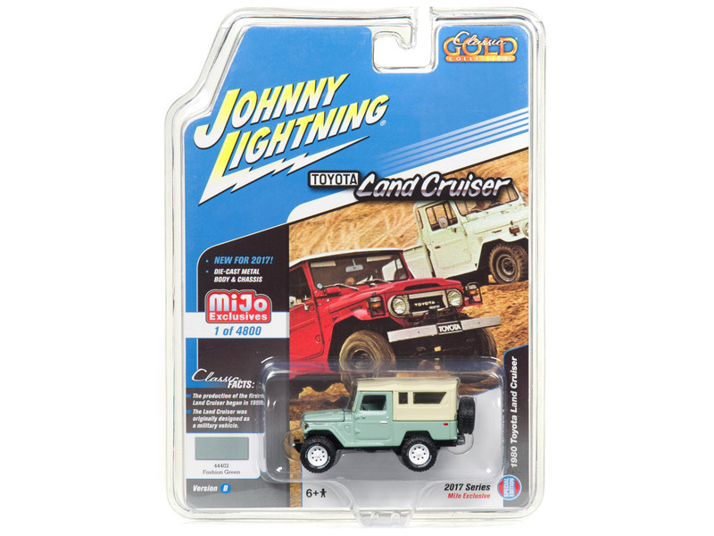 1980 Toyota Land Cruiser Fashion Green Hard Top Limited Edition to 4800pc Worldwide Special Edition Classic Gold 1/64 Diecast Model Car Johnny Lightning JLCP7031