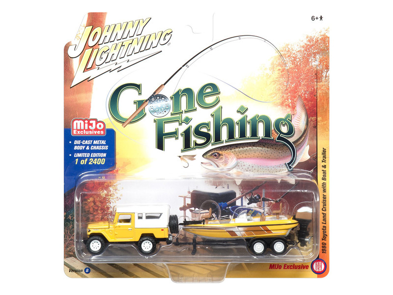 1980 Toyota Land Cruiser Yellow with Boat Gone Fishing Limited Edition of 2400 pieces Worldwide Special Edition 1/64 Diecast Model Car Johnny Lightning JLCP7033