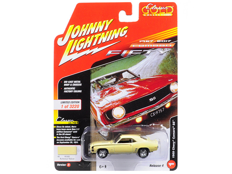 1969 Chevrolet Camaro SS Butternut Yellow 50th Anniversary Limited Edition to 3220pc Worldwide Muscle Cars USA 1/64 Diecast Model Car Johnny Lightning JLCP7052