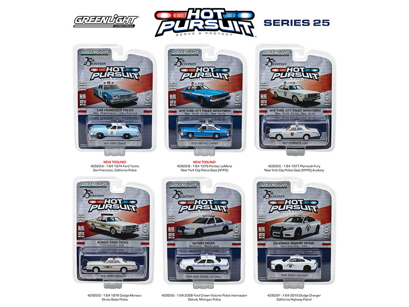 Hot Pursuit Series 25 6pc Set 1/64 Diecast Model Cars Greenlight 42820