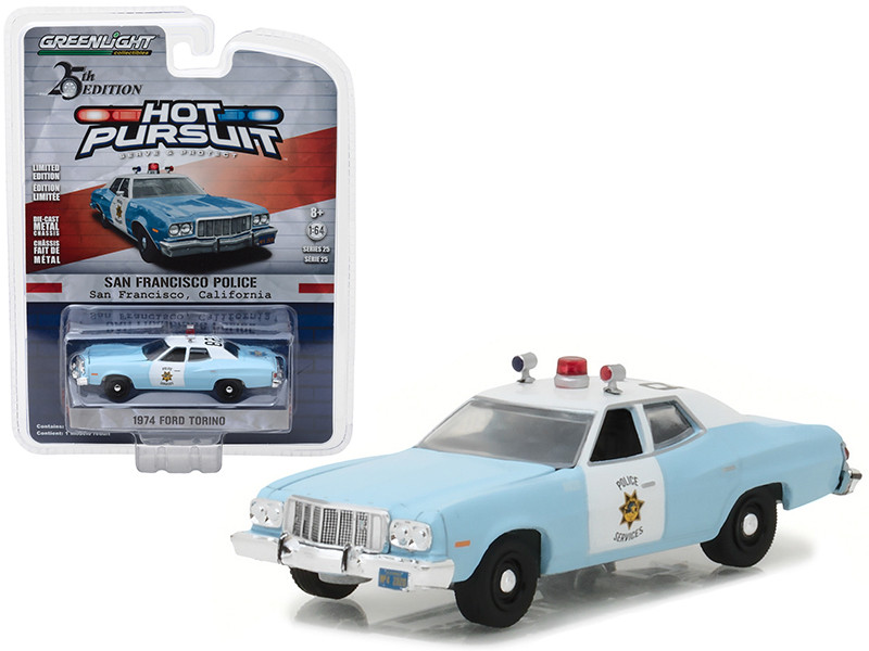 1974 Ford Torino San Francisco Police 1/64 Diecast Model Car Greenlight 42820 A