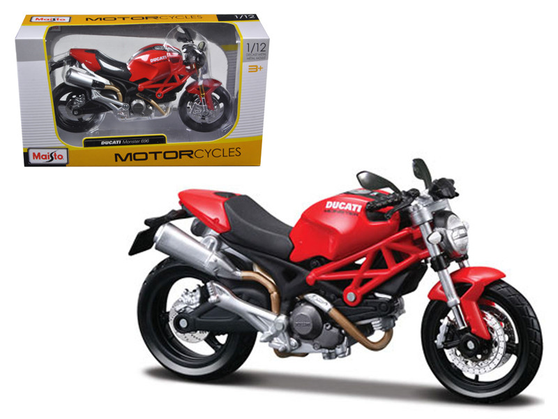 Ducati Monster 696 Red Motorcycle 1/12 Diecast Model Maisto 31189
