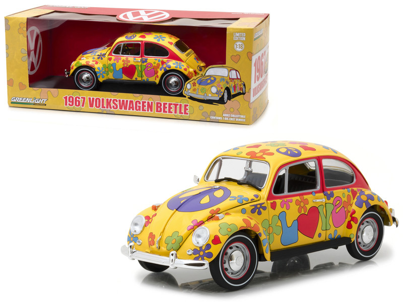 1967 Volkswagen Beetle Right Hand Drive Hippie Peace and Love 1/18 Diecast Model Car Greenlight 13509