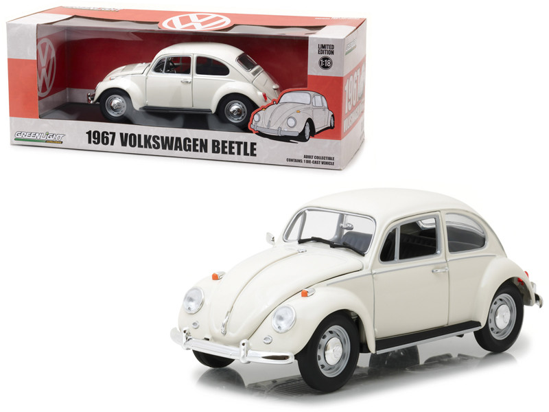 1967 Volkswagen Beetle Right Hand Drive Lotus White 1/18 Diecast Model Car Greenlight 13510