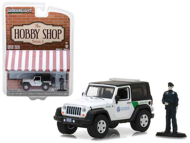 2016 Jeep Wrangler US Customs and Border Protection with Officer The Hobby Shop Series 2 1/64 Diecast Model Car Greenlight 97020 E