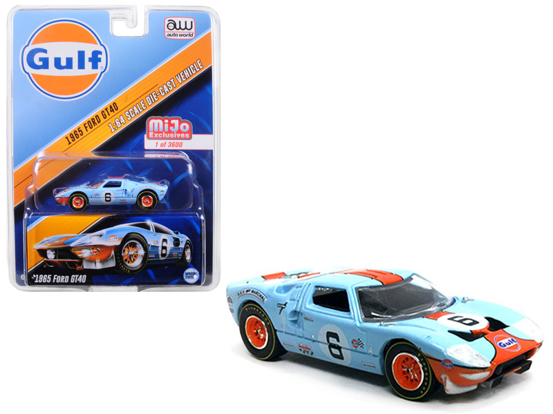 1965 Ford GT40 Gulf 6 Limited Edition to 3600 pieces 1/64 Diecast Model Car Autoworld CP7483