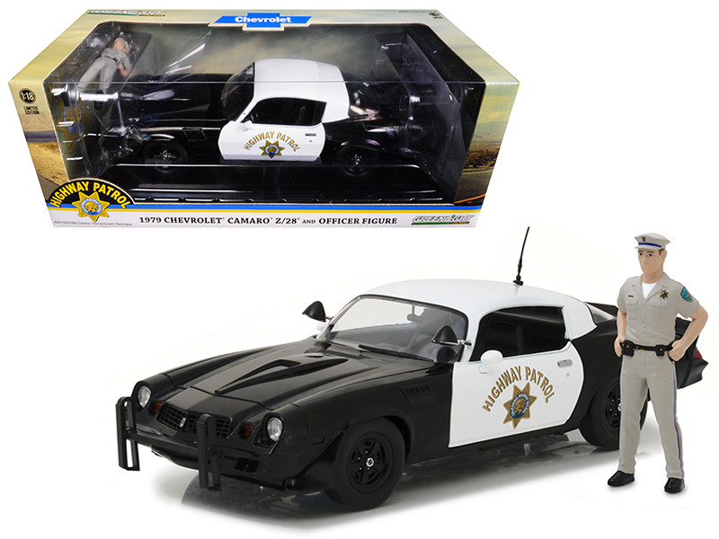 1979 Chevrolet Camaro Z/28 California Highway Patrol Hardtop CHP with Police Officer Figurine 1/18 Diecast Model Car Greenlight 13506