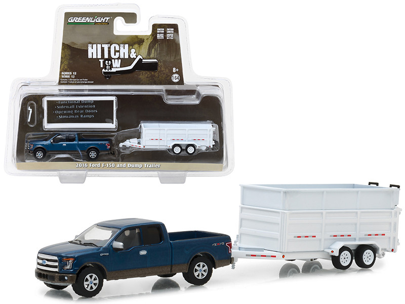 2016 Ford F-150 Pickup Truck and Dump Trailer Hitch & Tow Series 12 1/64 Diecast Car Model Greenlight 32120 C