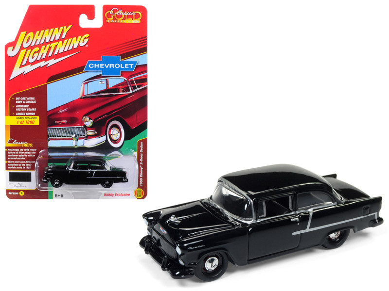 1955 Chevrolet 2 Door Sedan Onyx Black Classic Gold Limited Edition to 1800pc Worldwide Hobby Exclusive 1/64 Diecast Model Car Johnny Lightning JLSP005 A