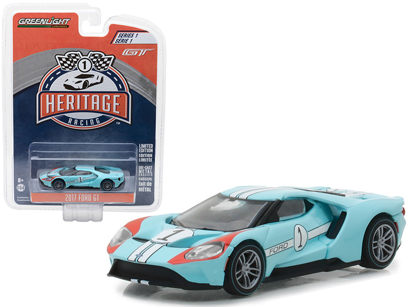 2017 Ford GT Blue #1 Tribute to 1966 Ford GT40 MK II #1 Racing Heritage Series 1 1/64 Diecast Model Car Greenlight 13200 B