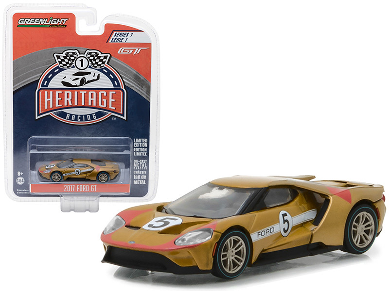 2017 Ford GT Gold #5 Tribute to 1966 Ford GT40 MK II #5 Racing Heritage Series 1 1/64 Diecast Model Car Greenlight 13200 C
