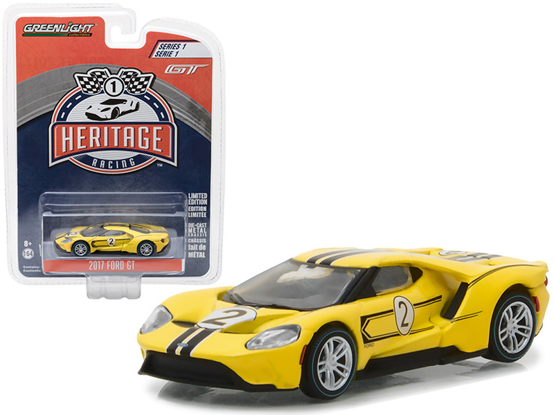 2017 Ford GT Yellow #2 Tribute to 1967 Ford GT40 MK IV #2 Racing Heritage Series 1 1/64 Diecast Model Car Greenlight 13200 E
