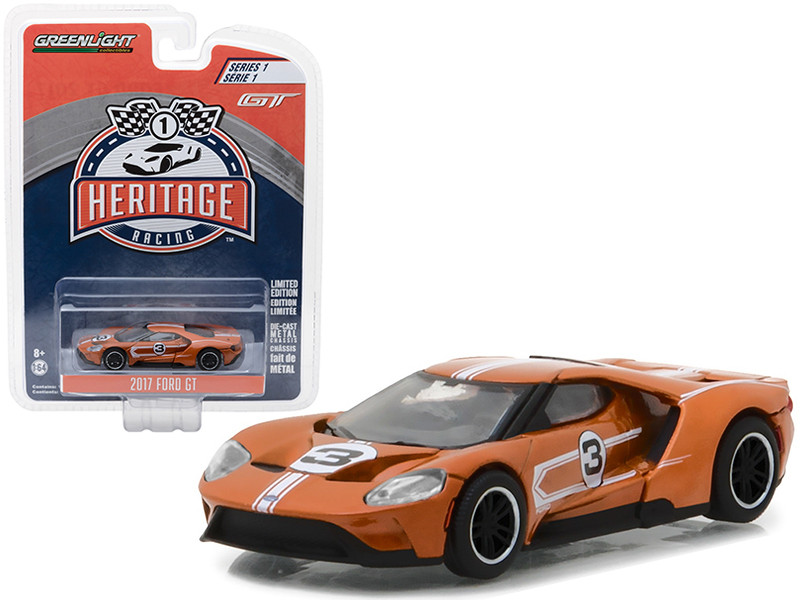 2017 Ford GT Brown #3 Tribute to 1967 Ford GT40 MK IV #3 Racing Heritage Series 1 1/64 Diecast Model Car Greenlight 13200 F