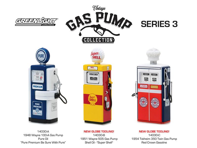 Vintage Gas Pump Series 3 Set of 3 Pumps 1/18 Diecast Models Greenlight 14030 A B C