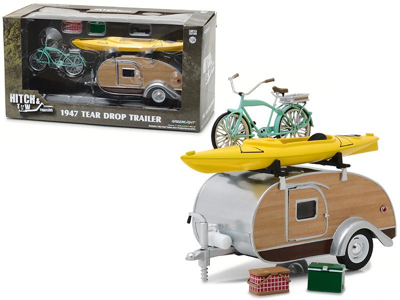 1947 Ken Skill Tear Drop Trailer with Accessories Hitch and Tow Trailers Series 3 for 1/24 Scale Model Cars and Trucks 1/24 Diecast Model Greenlight 18430 A