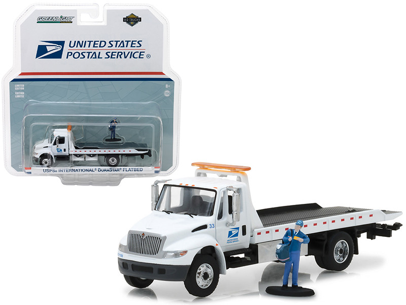 2013 International Flatbed Durastar Tow Truck USPS with Mailman Figure HD Trucks Series 11 1/64 Diecast Model Greenlight 33110 B