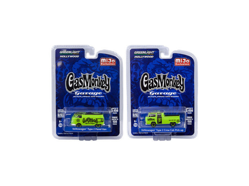 Volkswagen Type 2 Panel Van and Volkswagen Crew Cab Pickup Set of 2 Gas Monkey Garage 2012-Current TV Series Limited Edition to 3450 pieces Worldwide of each 1/64 Diecast Model Cars Greenlight 51148