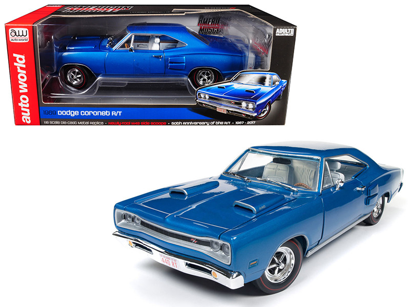 1969 Dodge Coronet R/T B5 Blue 50th Anniversary Limited Edition to 1002 pcs Worldwide 1/18 Diecast Model Car Autoworld AMM1116